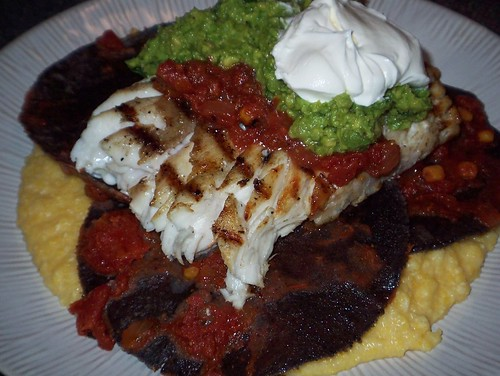 grilled grouper with tostadas and grits