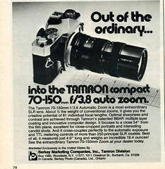 Tamron 70-150mm f/3.8 Auto Zoom lens 1976