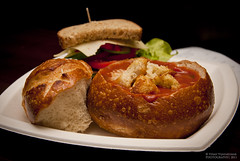 Tomato Soup in a bread bowl and Half a Sandwich please. (Vinay Vijayakumar) Tags: sanfrancisco california lunch soup flash thecity sandwich bayarea ofarrell breadbowl northercalifornia boudinbakery
