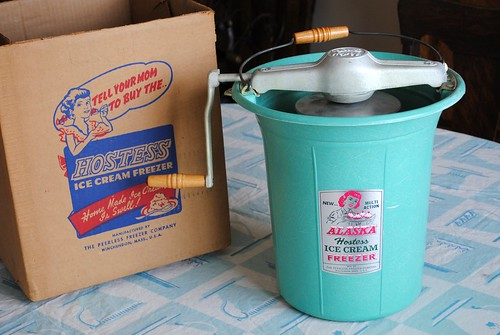 Vintage Alaska Hostess Ice Cream Freezer with original box