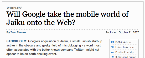 Will Google take the mobile world of Jaiku onto the Web? - International Herald Tribune