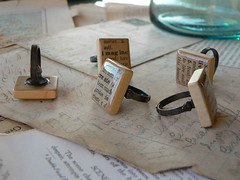 a ring for each finger...... (FoundandMade) Tags: vintage paper ring scrabble definition resin