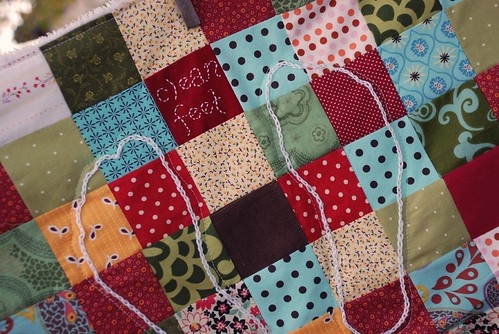 patchwork bath mat close up