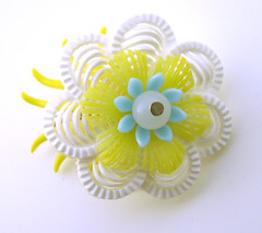 White and Yellow Vintage Flowers Brooch