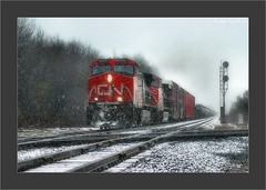 Fast Freight and Furious Flurries in Indiana (Images by A.J.) Tags: railroad winter snow electric cn train diamonds crossing general snowy indiana rail railway trains canadian diamond explore signals national transportation locomotive ge signal freight locomotives canadien csx wellsboro   csxt   top20rrpix explored