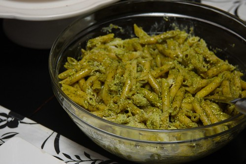 penne with pesto & lemon