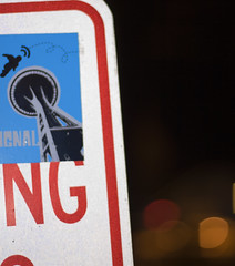 signals (EdgarDiazRocks) Tags: seattle sign sticker bokeh mapleleaf spaceneedle signaltonoise