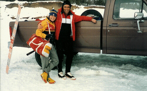 Heinz with Jane Vincent at the 1986 Canadian Junior Championships in Whitehorse,Yukon