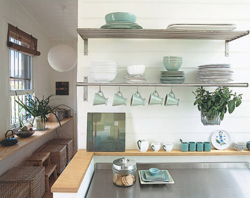 The Color Scheme Is A Bit Too U201cprettyu201d For Me, But Thereu0027s A Lot Of  Inspiration Here. The Shallow Wood Shelf That Surround The Units Looks  Great, ...
