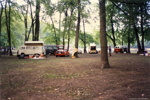 Grateful Dead Summer Tour 1995, Springfield, Illinois - VW buses at the between-shows campground
