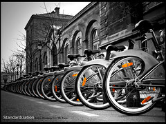 Standardization (Bruno Misseeuw) Tags: bw white black paris france public bike bicycling cycling perfect europe photographer wheels transport bikes bicycles soe vlo vlos reflectors the velos bicyclettes standardization photosessions shieldofexcellence anawesomeshot diamondclassphotographer flickrdiamond citrit betterthangood theperfectphotographer brunomisseeuw