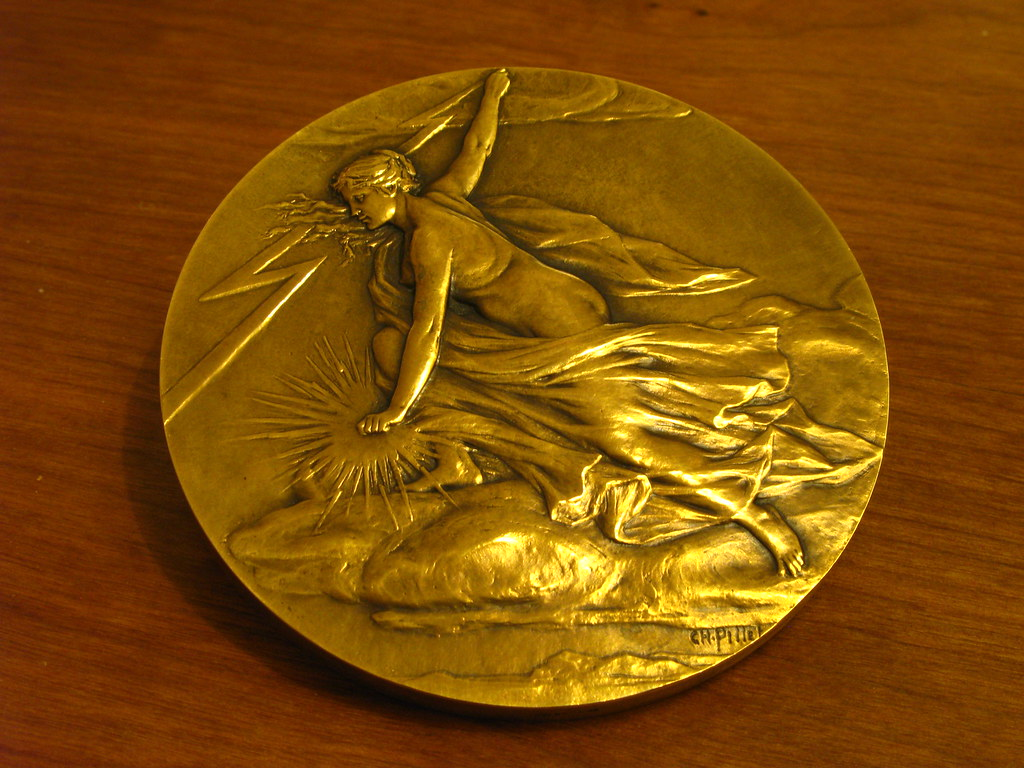 Large French Art Nouveau Medal, Nude Woman, Ch Pillet