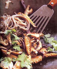 Spicy Garlic Soba with Mushrooms and Greens