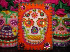 Sugar Skulls (eklektick) Tags: orange glitter dayofthedead colorful handmade embroidery altar sequins hotpink sugarskull eldadelosmuertos