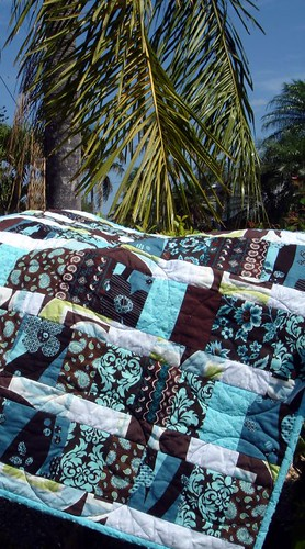 brown blue quilt outdoors