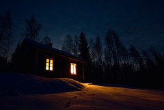 Cottage (L.Mikonranta) Tags: winter snow nature night canon suomi finland eos cottage wideangle explore lm 1022 mökki luonto copyright© petäjävesi swa canonefs1022mmf3545usm 40d canoneos40d copyright©lm