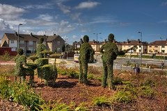 Beatles topiary (John_Kennan) Tags: sculpture art station liverpool canon artwork topiary gardening beatles ludwig hdr highdynamicrange hofner gretsch fabfour rickenbacker privet capitalofculture 3xp merseytravel photomatixpro southparkway francocovili prefabfour
