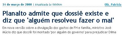 Planalto admite dossiê contra FH