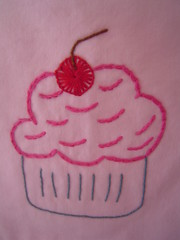 Cupcake embroidery detail