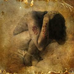 zombie sleeping (Chopak) Tags: texture stealingshadows square sepia portrait photoshop oldpaper light dark darkcolors boy 2b zombie sleeping paper evil blood burn hourofthesoul