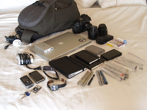 my backpack full of gadgets