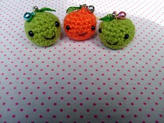 Amigurumi Cell Phone Charms (yourtricolor) Tags: orange cute green fruit phone crochet cellphone kawaii amigurumi charms