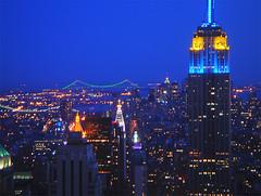 Empire State & Downtown East (TeeJayG) Tags: nyc newyorkcity newyork skyline night observation manhattan scenic empirestatebuilding hdr topoftherock downtownmanhattan