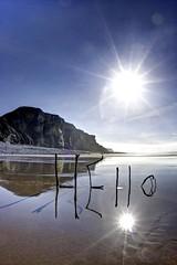 Wake up sunshine (pauldunn52) Tags: traeth reflection driftwood art hello sunburst wet sand cliffs glamorgan heritage coast mawr