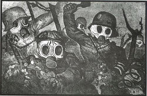 Dix, Otto (1891-1969) - 1923-24 Gas Attack (etching). Der Kreig (the War)