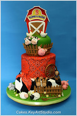 Farm-barn-yard-cake-01 (Cakes.KeyArtStudio.com) Tags: red horse dog white house black rabbit green chicken animals cake kids barn yard fence children pig cow cowboy village child farm montreal country cock chick western lamb piglet bandana hen fondant gumpaste cowprint sugarpaste larissavolnitskaia keyartstudio