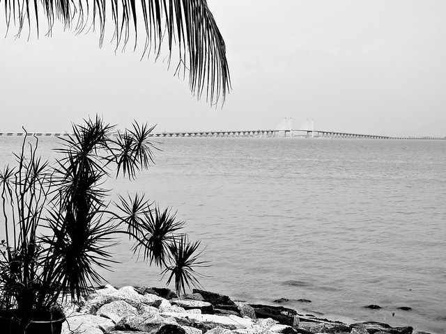 IMG_0394 Penang Bridge , black and white photography , 槟威大桥,黑白摄影