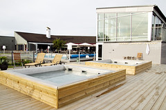 hot tubs, sauna building, restaurant