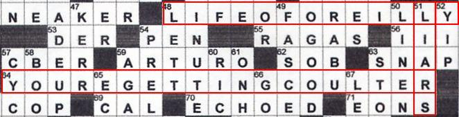 A portion of the October 26 New York Times crossword