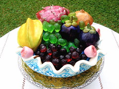 Fruit Bowl cake (The Ladygloom) Tags: fruit bowl grapes semolina porcelain dragonfruit mangosteen starfruit pomegrenate roseapple sugee noveltycakes foodforthecracked