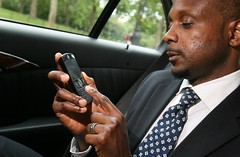 businessman using windows mobile device