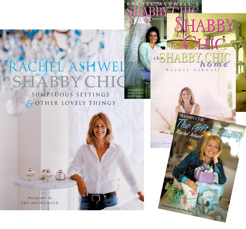 A collage of book covers by Rachel Ashwell of Shabby Chic.