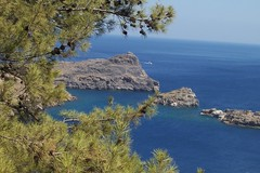 Aegean Sea from Lindos (Alexanyan) Tags: wood blue sea summer tree tourism beach rock stone pine forest island greek grove hellas rocky greece rhodes lindos touristic dodecanese  aegeansea