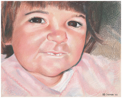 Colored pencil drawing entitled Clara at 18 Months