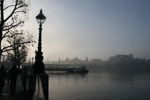 London - The River Thames in the fog