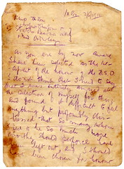 Letter from Captain A. G. Butler regarding his DSO, 1918. page 1 of 4