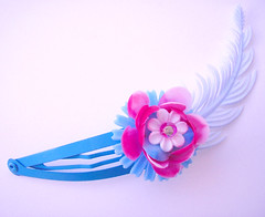Blue and Pink Vintage Flowers Barrette