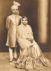 Glory of Yesteryears; Grandparents. (Furhan H!) Tags: wedding pakistan india up sepia oldpictures turban karachi lucknow pradesh antiquephotograph uttar churidar chowdhry farshi chaudhury unitedprovinces unitedprovincesofagraandoudh chowdhriesofsulemanpur subeha taluqdar farshipaijama chowdhries farshipajama