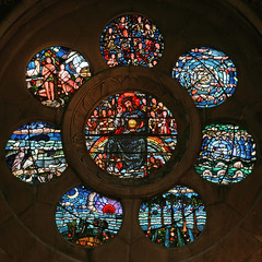 Rose window, Waltham Abbey church (TheRevSteve) Tags: church parish stainedglass essex anglican walthamabbey rosewindow burnejones
