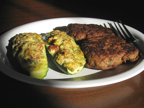 Bean and turkey burger with stuffed zucchini