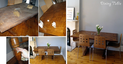 dining table before and after