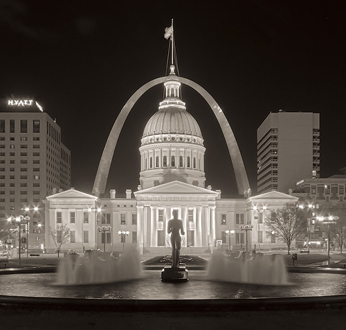 Kiener Plaza at night, in Saint Louis, Missouri, USA