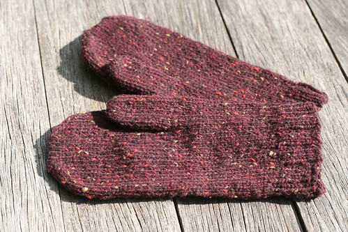 Red Tweed Mittens