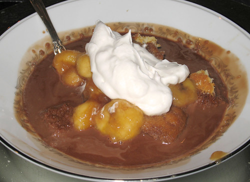Chocolate Soup with  Rum-Soaked Caramelized Bananas
