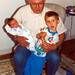 Michael RH Tuttle with grandpa and new brother Christopher, Apri