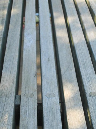 Planks on a park bench